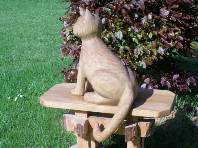 Zahradní Dekorace Dřevěná Kočka Pěkné Sochycz
